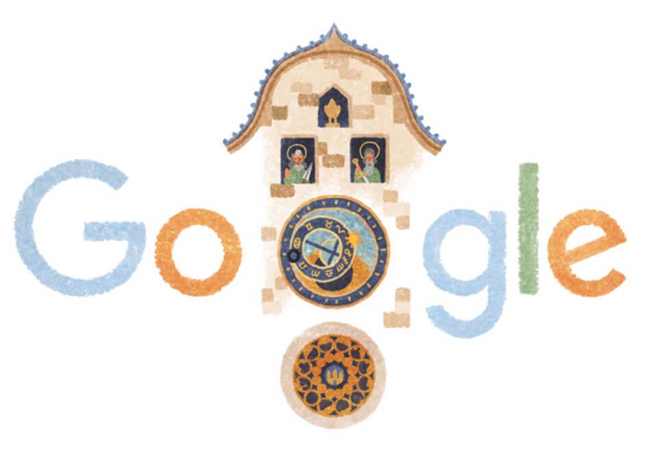 プラハの天文時計バージョンのグーグルロゴ