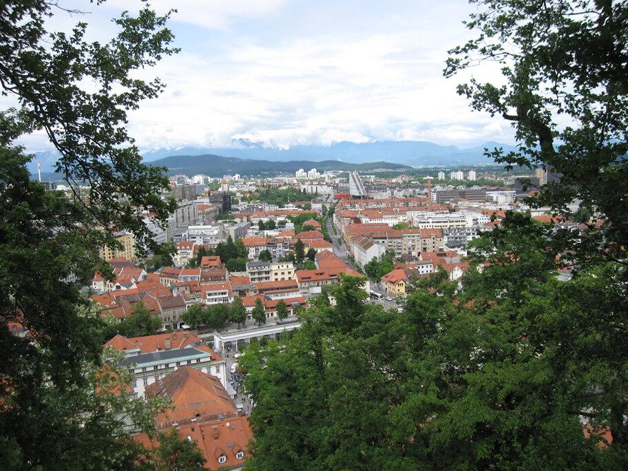 リュブリャナ城から見た旧市街