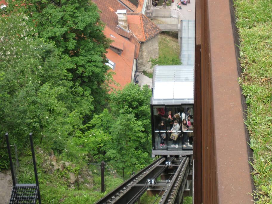 リュブリャナ城と旧市街を結ぶケーブルカー