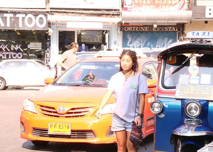 タイ,バンコクのタクシー,オレンジ